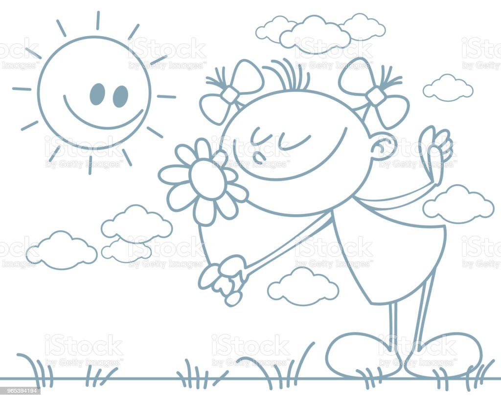 Girl with a flower royalty-free girl with a flower stock vector art & more images of art