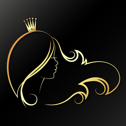 Girl with a gold crown on his head