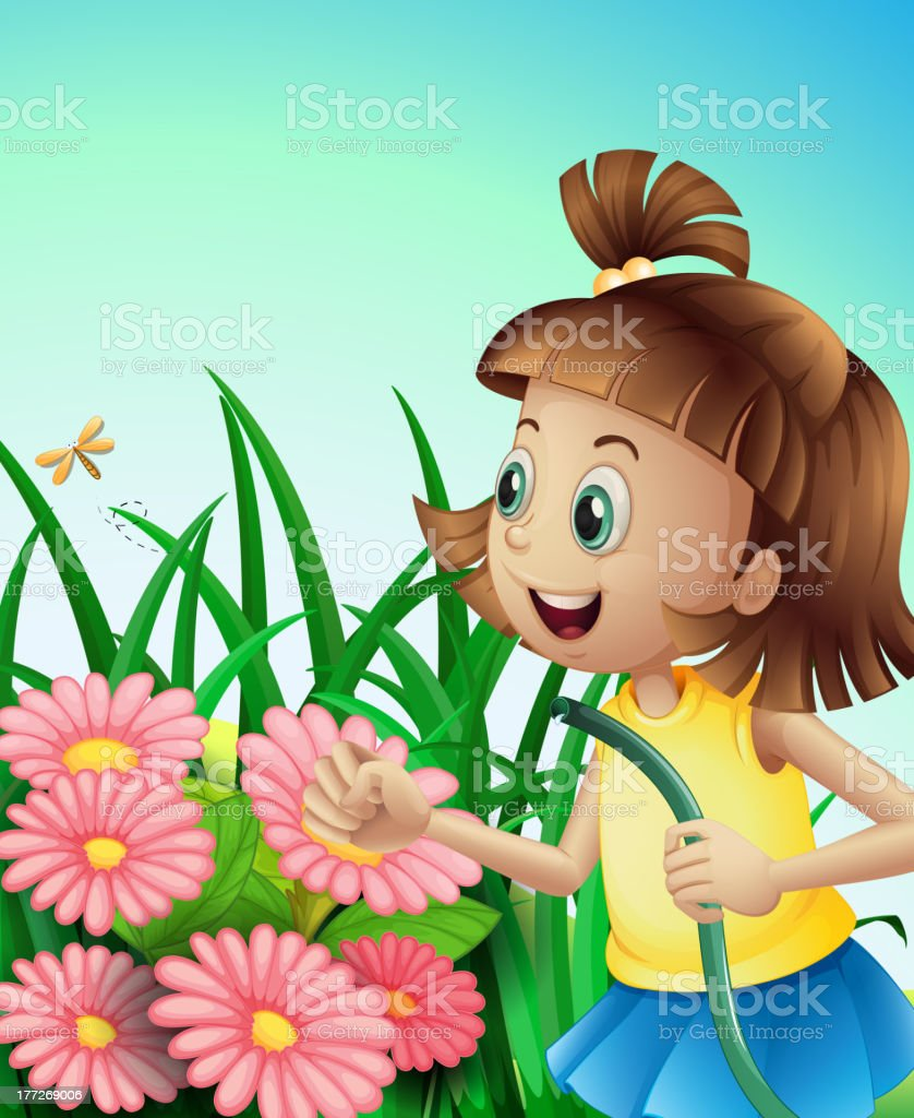 Girl with a hose at the garden royalty-free stock vector art