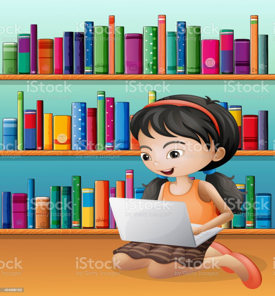 Girl with a laptop in front of the wooden shelves royalty-free stock vector art