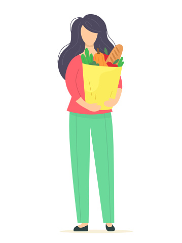 Girl with a package of products and vegetables with fruits in her hands. Vector illustration in flat style.
