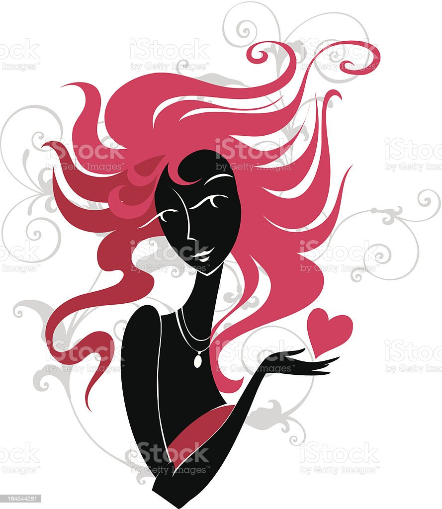 Girl with a red heart royalty-free stock vector art