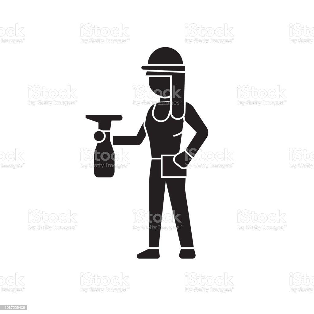 Girl with a sprayer black vector concept icon. Girl with a sprayer flat illustration, sign vector art illustration