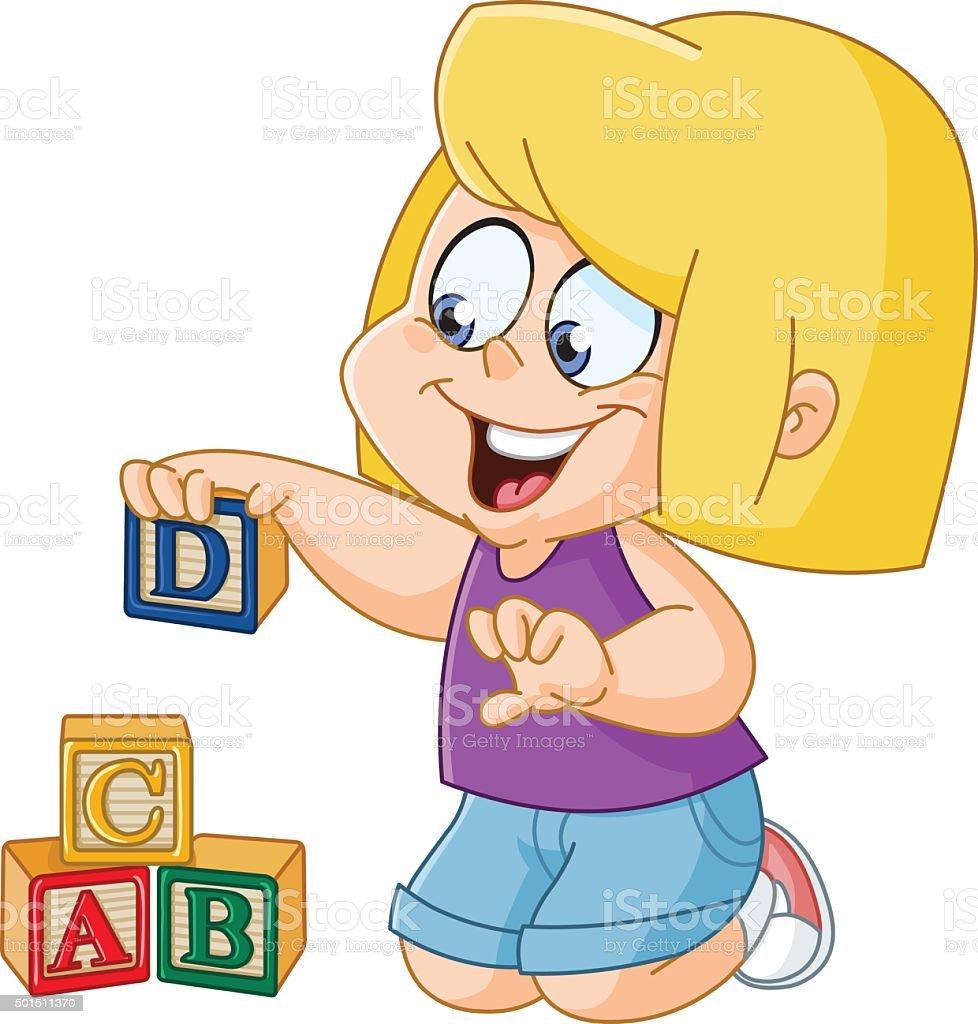 Chica con alfabeto cuadras - ilustración de arte vectorial