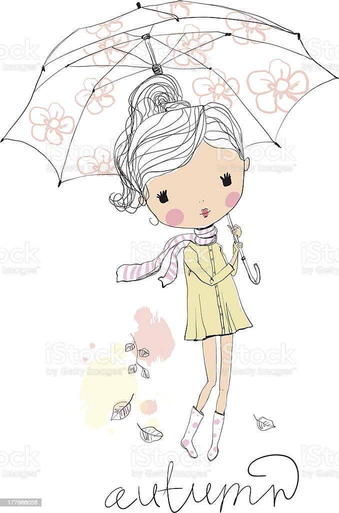 Girl with an umbrella. Autumn royalty-free stock vector art
