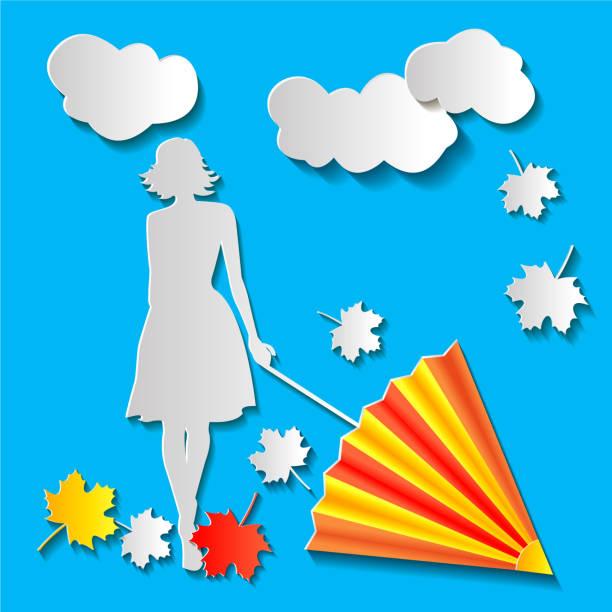illustrazioni stock, clip art, cartoni animati e icone di tendenza di girl with an umbrella in autumn - mockup outdoor rain