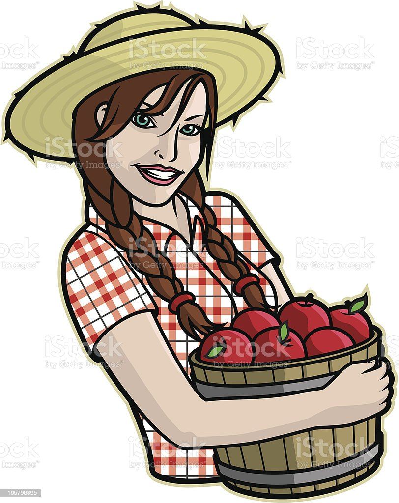 Girl With Apples vector art illustration