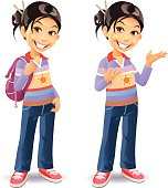 A cute little girl in jeans with a bag over her shoulder, plus a version gesturing with her hands. EPS 8, fully editable, grouped and labeled in layers.