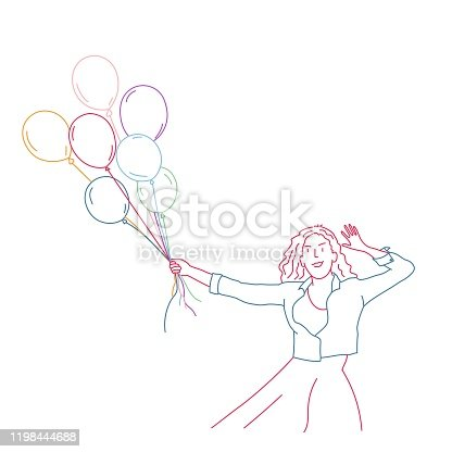 Girl with balloons. Colour line drawing vector illustration.