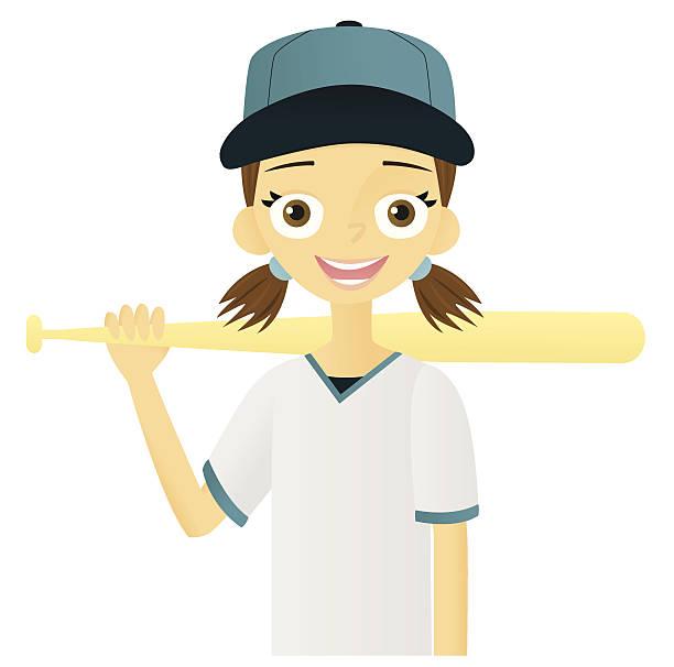 Girl with Baseball Bat vector art illustration