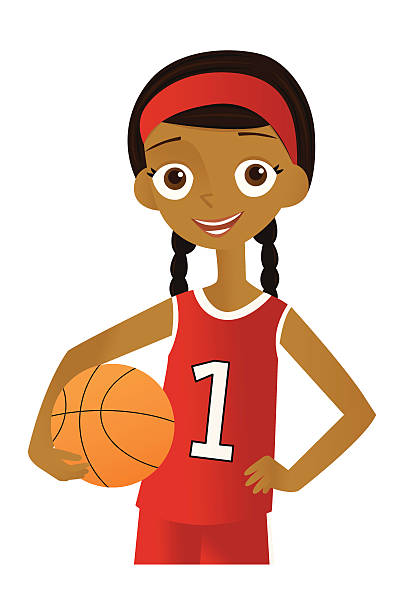 Girl with Basketball vector art illustration