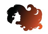 Girl with beautiful hair. Isolated on white. Icon, silhouette
