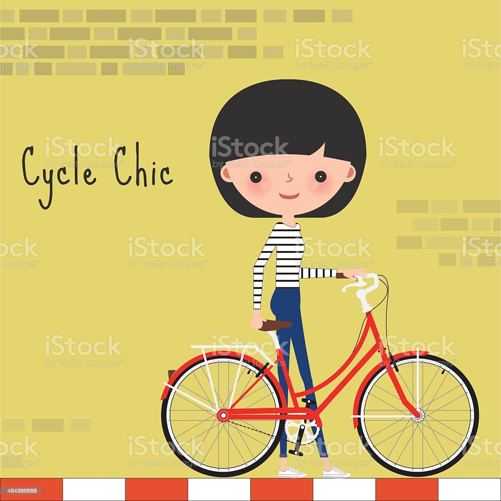 Girl With Bicycle In The City Stock Vector Art & More Images of ...