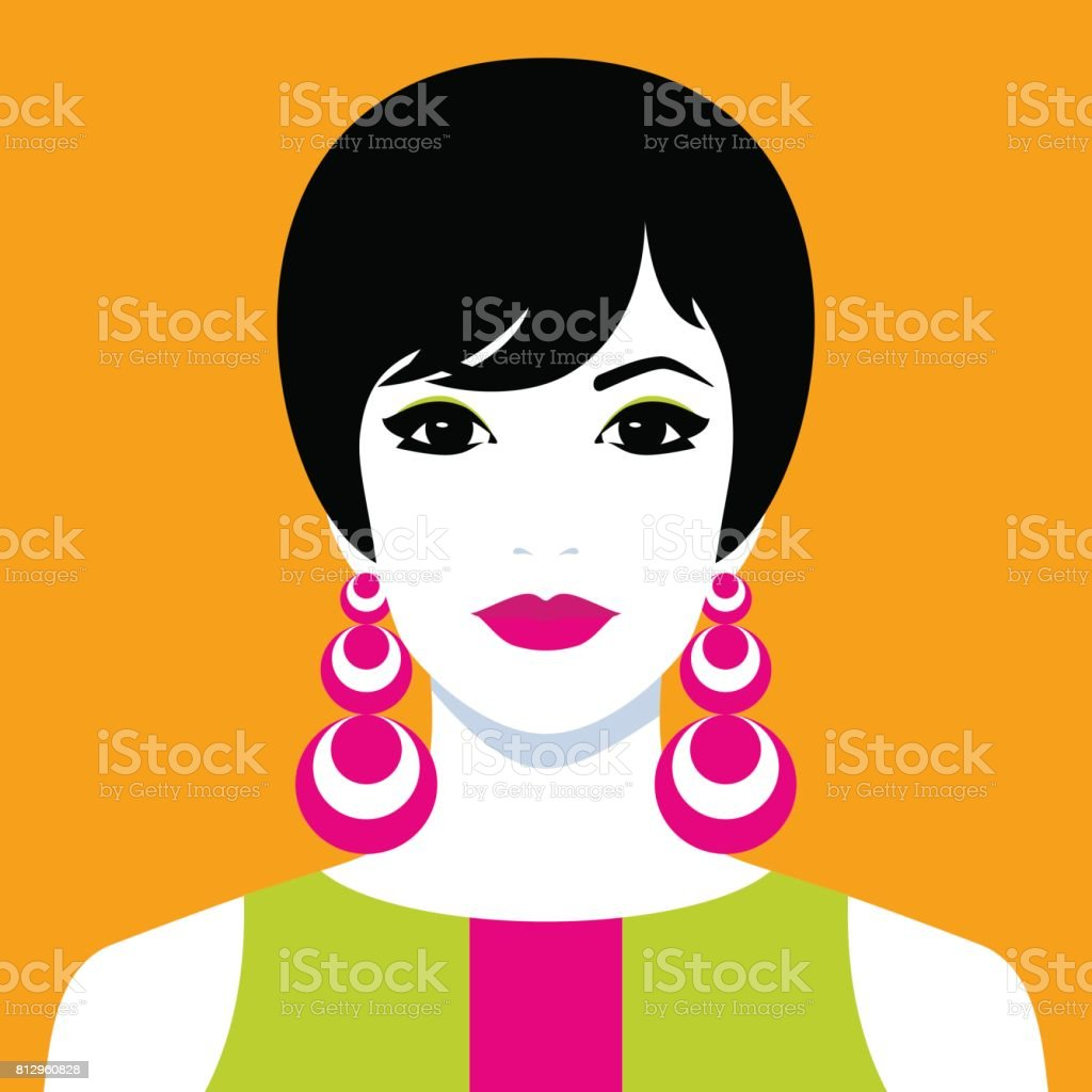 Girl with big colorful earrings vector art illustration