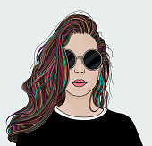 Hand draw portrait of a beautiful young woman with sunglasses and big, long, luscious hair. EPS10 vector illustration.