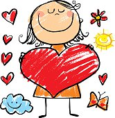 girl with a big heart drawn on child style, with items grouped separately for use in design, easy to change colors, add text space on the heart