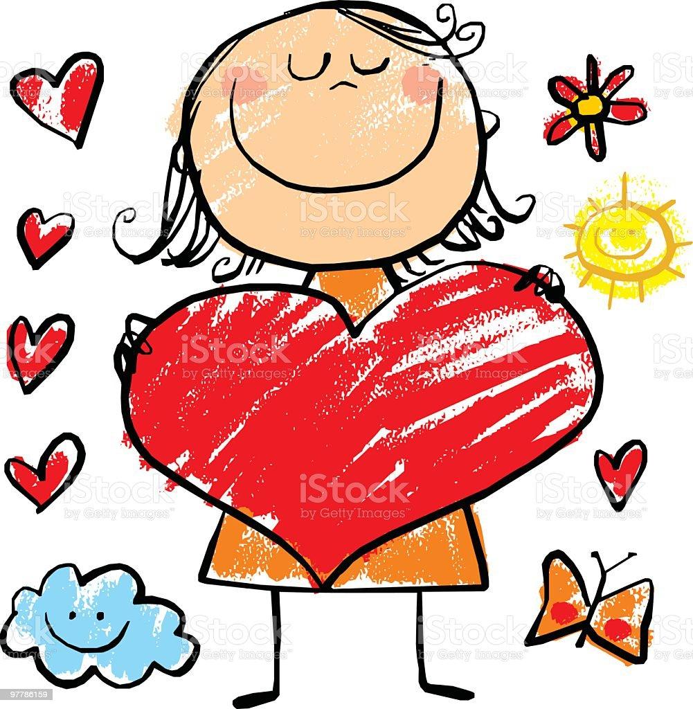girl with big heart vector art illustration