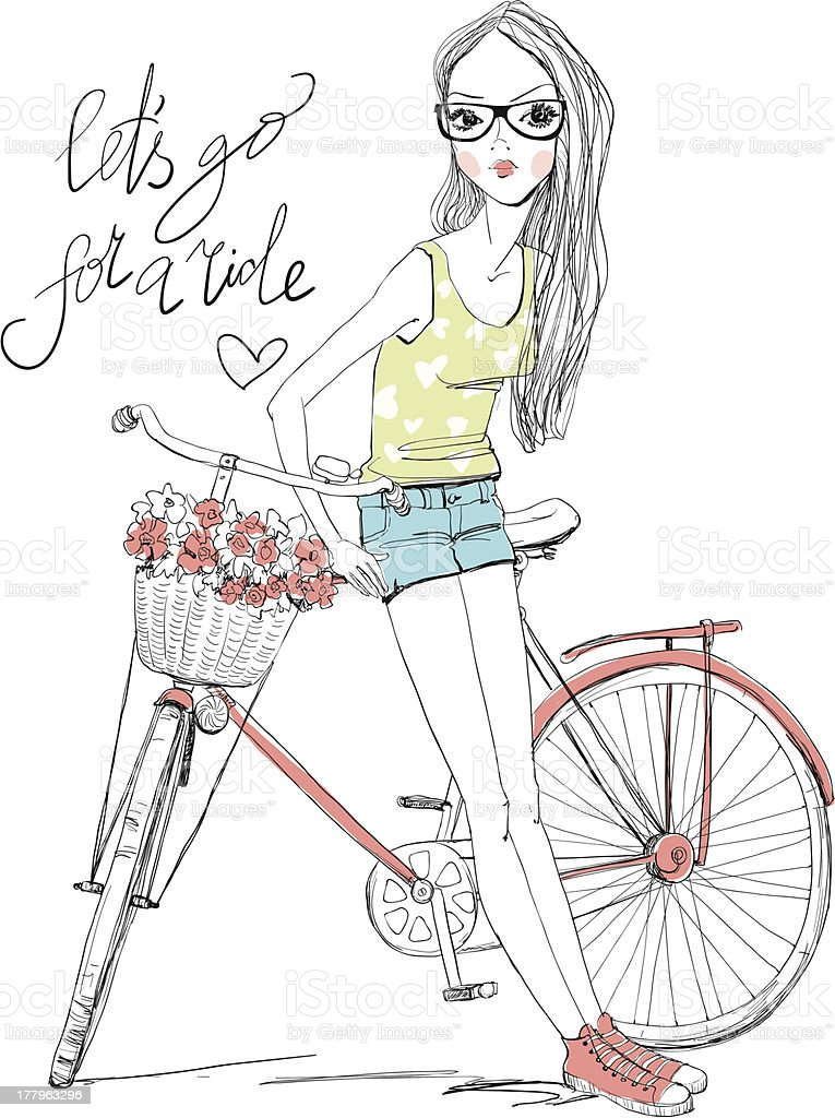 girl with bike royalty-free girl with bike stock vector art & more images of adolescence