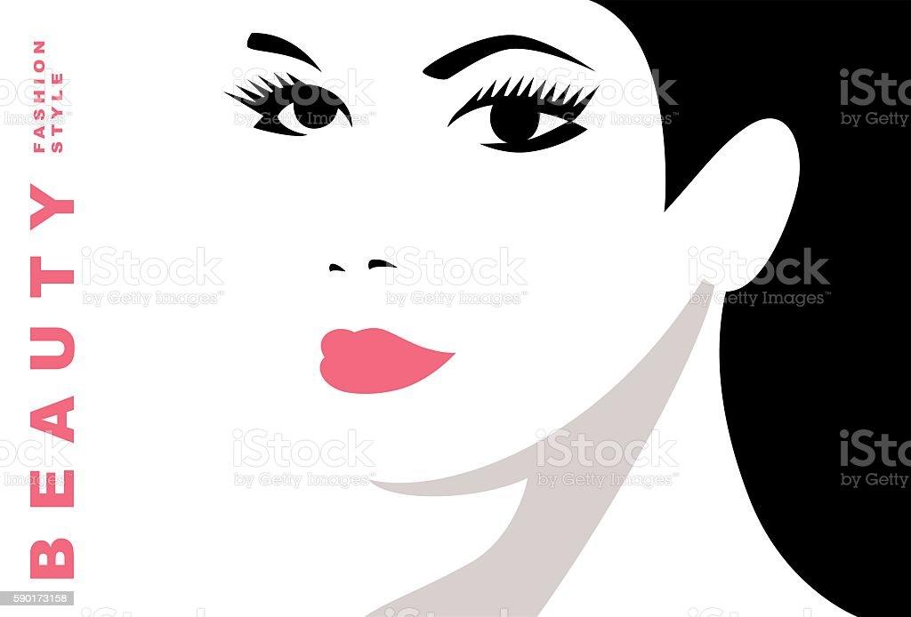 Girl with black hair. Beautiful female face vector art illustration