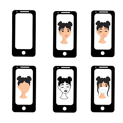 Girl with black hair on the phone screen. Emotions of a woman on the screensaver of a smartphone. Remote communication using gadgets. Stock vector illustration for business, internet, social networks.
