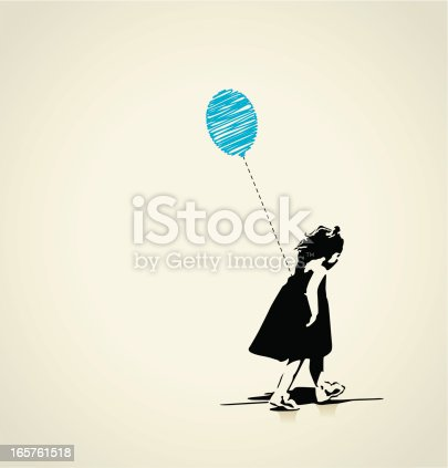 Girl with blue balloon - layered illustration.