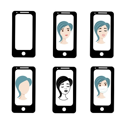 Girl with blue hair on the phone screen. Emotions of a woman on the screensaver of a smartphone. Remote communication using gadgets. Stock vector illustration for business, internet, social networks.