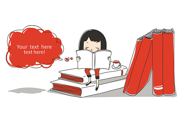 stockillustraties, clipart, cartoons en iconen met girl with books - a little girl reading a book