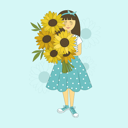 Girl with bouquet of sunflowers