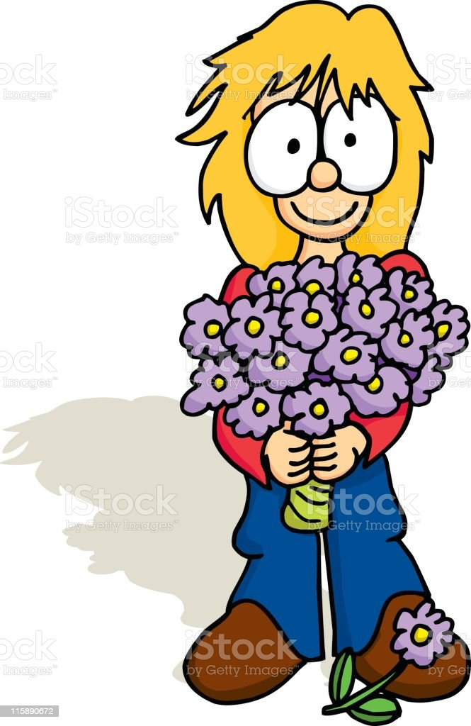 Girl with Bouquet royalty-free stock vector art