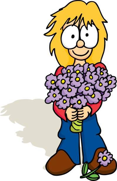 Mädchen mit Bouquet – Vektorgrafik