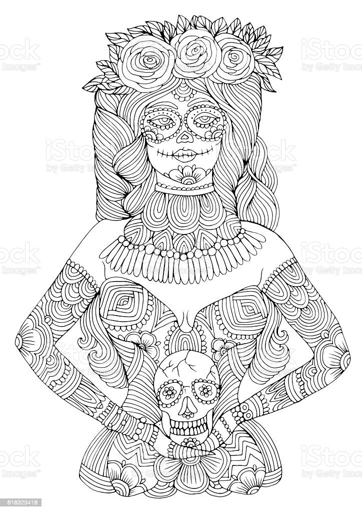 Halloween Coloring Pages Skulls. Girl with calavera makeup holding sugar skull Halloween coloring page  royalty free girl With Calavera Makeup Holding Sugar Skull Coloring