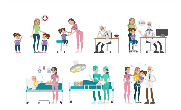 girl with cancer set. - cancer patient stock illustrations