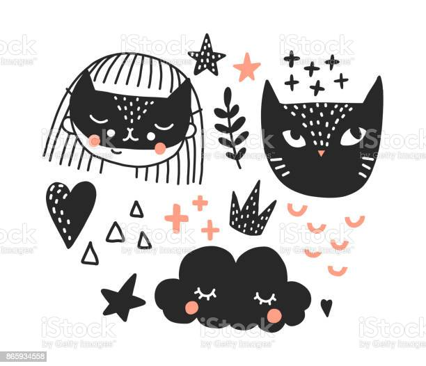 Girl with cat and cloud poster for nursery room vector id865934558?b=1&k=6&m=865934558&s=612x612&h=6q3uuj0on6qkdeus76yz96yyiuajolvm0kcobmus8cs=