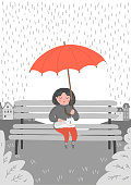 Girl with cat in the rain