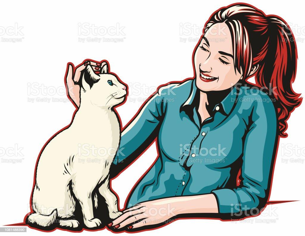 Girl With Cat vector art illustration