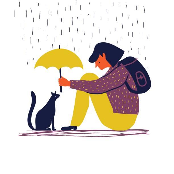 Mädchen mit Katze – Vektorgrafik