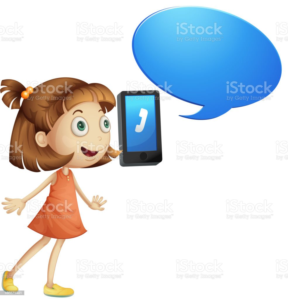 Girl with cell phone royalty-free stock vector art