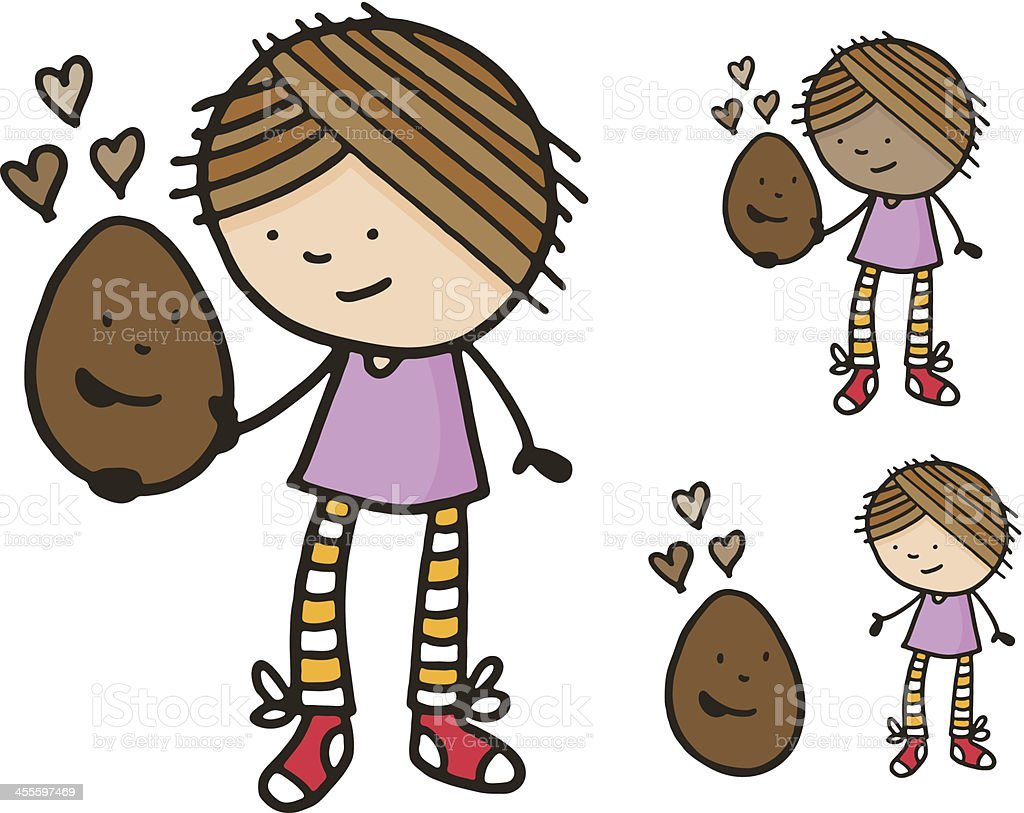 Girl with chocolate easter egg royalty-free stock vector art