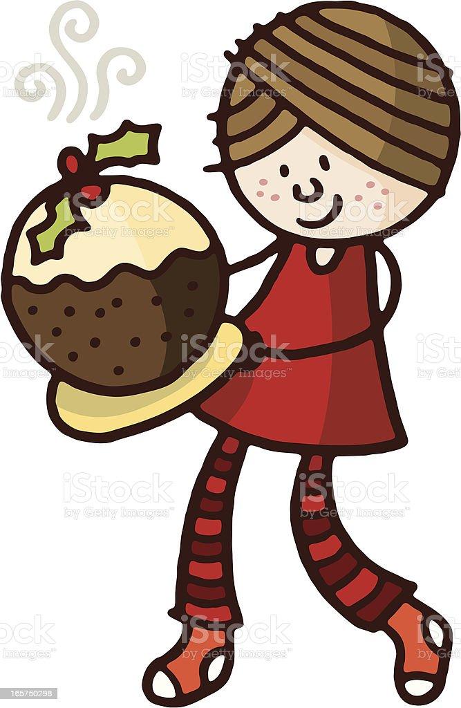 Girl with christmas pudding royalty-free stock vector art