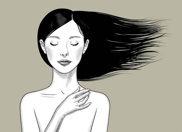 ilustraciones, imágenes clip art, dibujos animados e iconos de stock de chica con los ojos cerrados y el pelo revoloteando - cabello negro