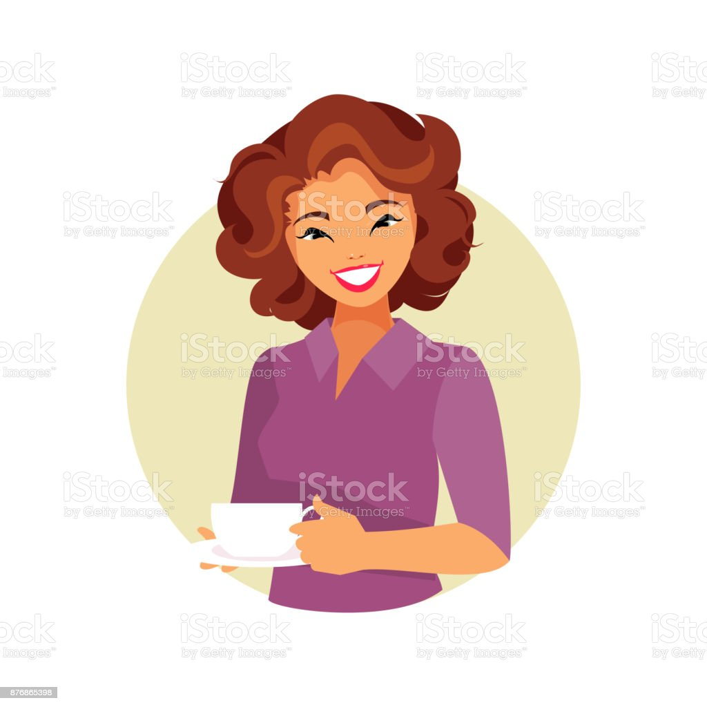 Girl with coffee vector art illustration