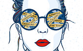 istock Girl with coronavirus reflection in her sunglasses 1214791322