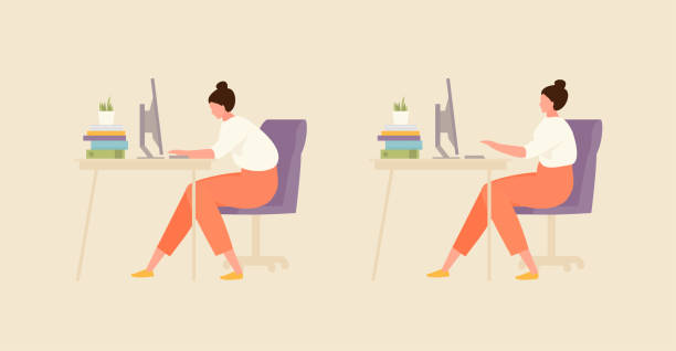 Girl with correct and incorrect posture Sitting girl with correct and incorrect posture. Office and workplace hygiene illustration backache stock illustrations