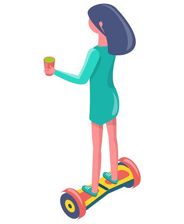 Girl with Cup Balancing on Segway, Eco Vector