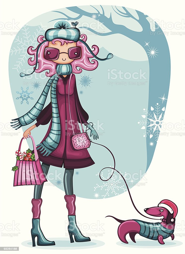 Girl With Dachshund. Winter royalty-free stock vector art