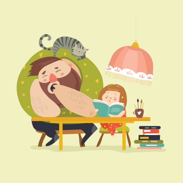 Girl with Dad doing homework vector art illustration