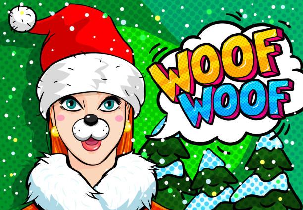 ein mädchen mit hund ohren und nase - kopfschüsse stock-grafiken, -clipart, -cartoons und -symbole