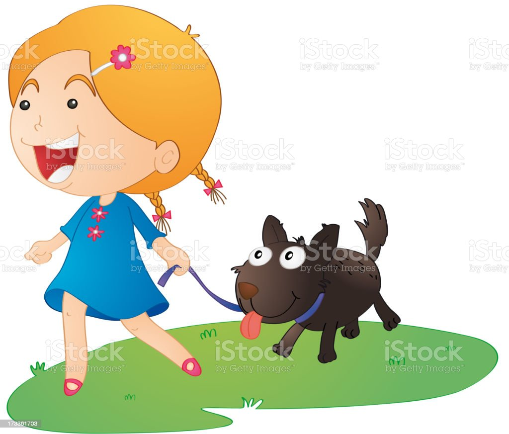 girl with dog royalty-free stock vector art