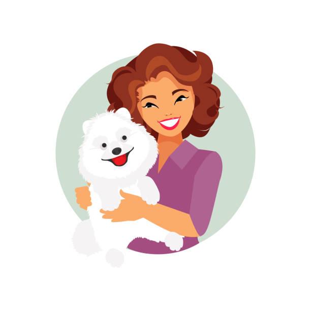 illustrations, cliparts, dessins animés et icônes de fille avec un chien - femme seule s'enlacer
