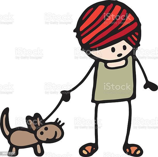 Girl With Dog-vektorgrafik och fler bilder på Barn